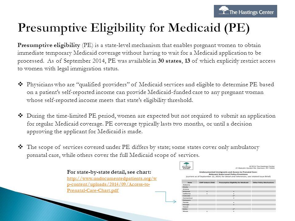 Presumptive Eligibility for Medicaid (PE)