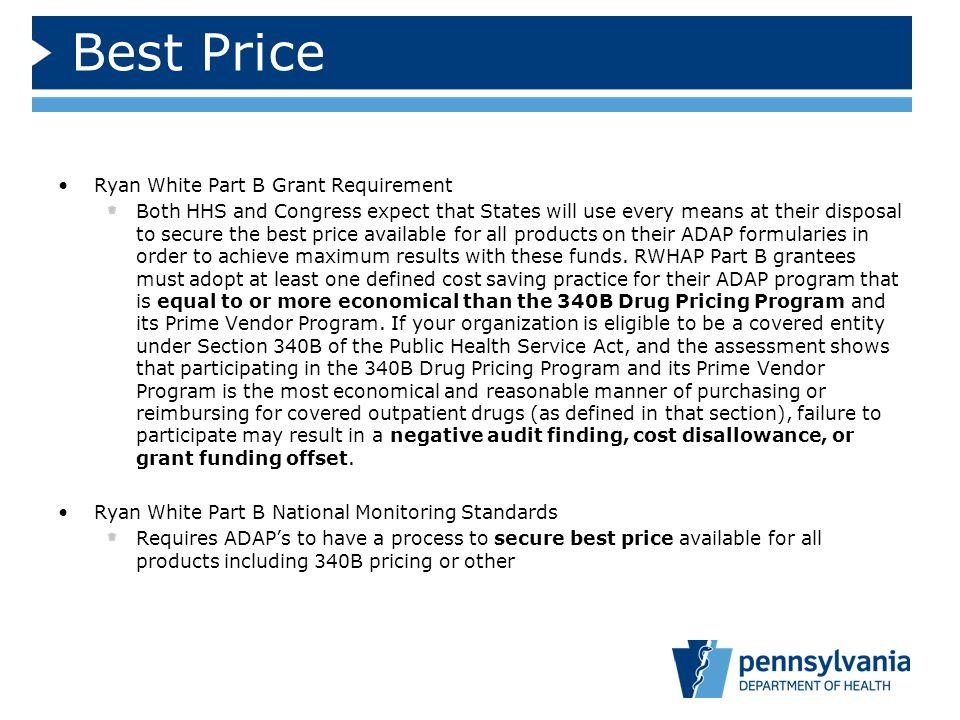 Best Price Ryan White Part B Grant Requirement