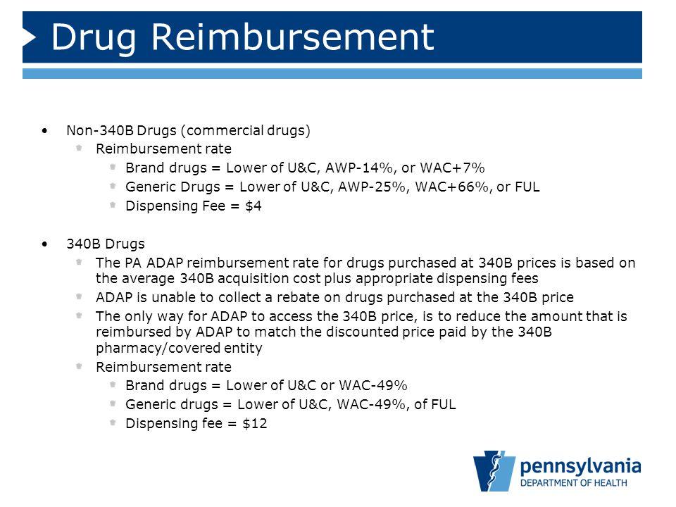 Drug Reimbursement Non-340B Drugs (commercial drugs)