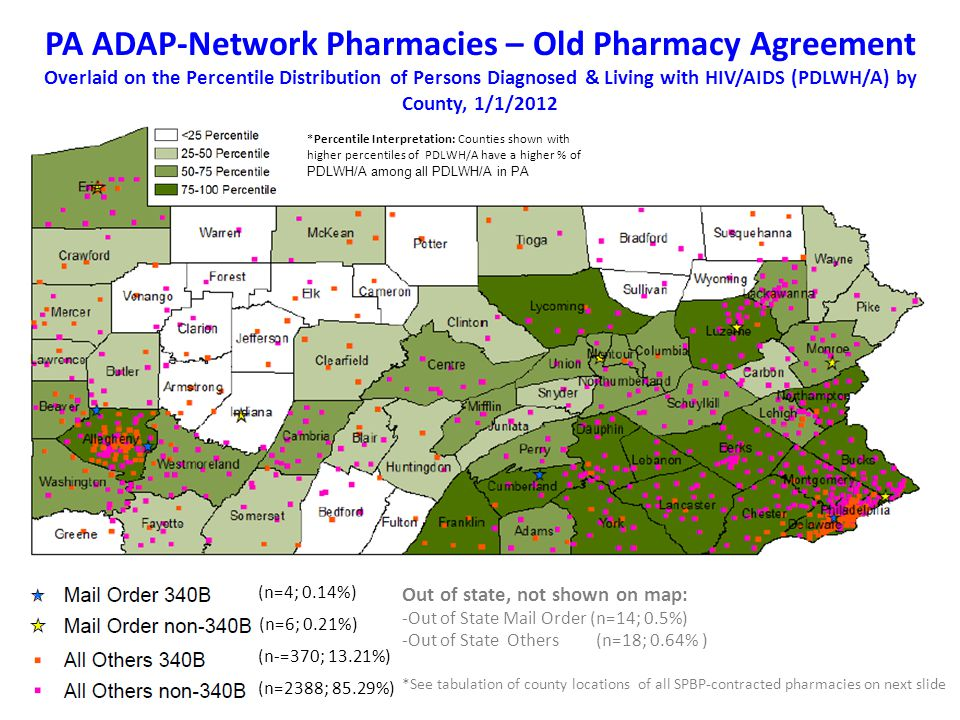 PA ADAP-Network Pharmacies – Old Pharmacy Agreement Overlaid on the Percentile Distribution of Persons Diagnosed & Living with HIV/AIDS (PDLWH/A) by County, 1/1/2012