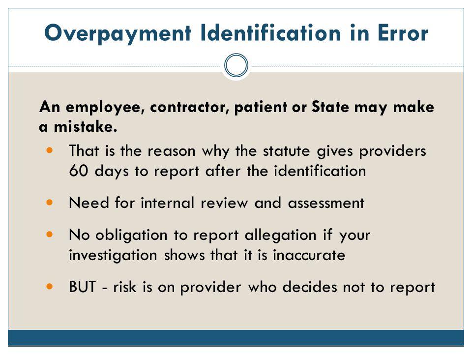 Overpayment Identification in Error