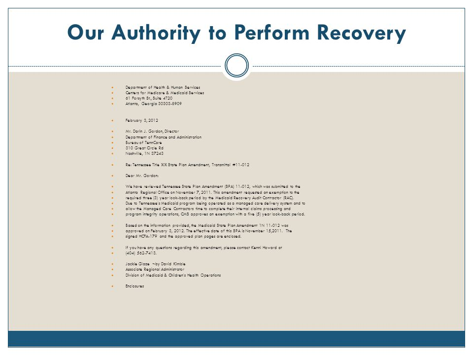 Our Authority to Perform Recovery