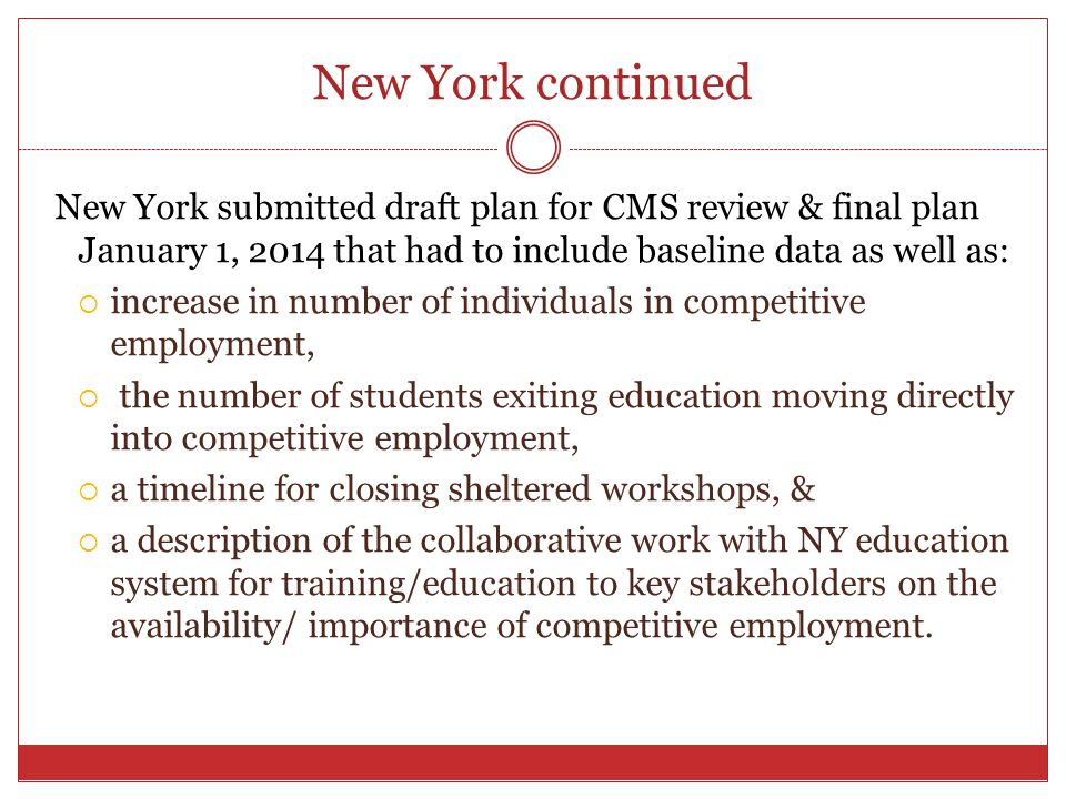 New York continued New York submitted draft plan for CMS review & final plan January 1, 2014 that had to include baseline data as well as: