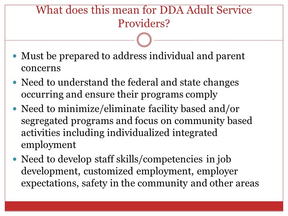 What does this mean for DDA Adult Service Providers