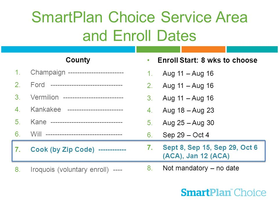 SmartPlan Choice Service Area and Enroll Dates