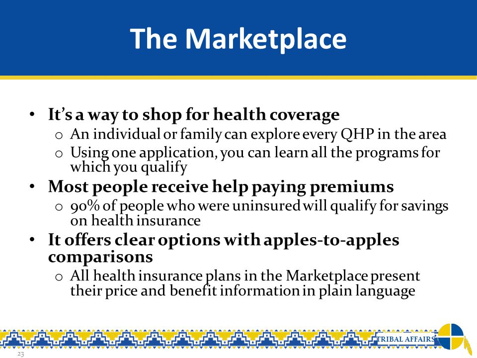 The Marketplace It's a way to shop for health coverage