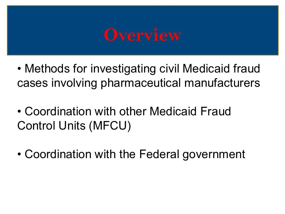 Overview Methods for investigating civil Medicaid fraud cases involving pharmaceutical manufacturers.