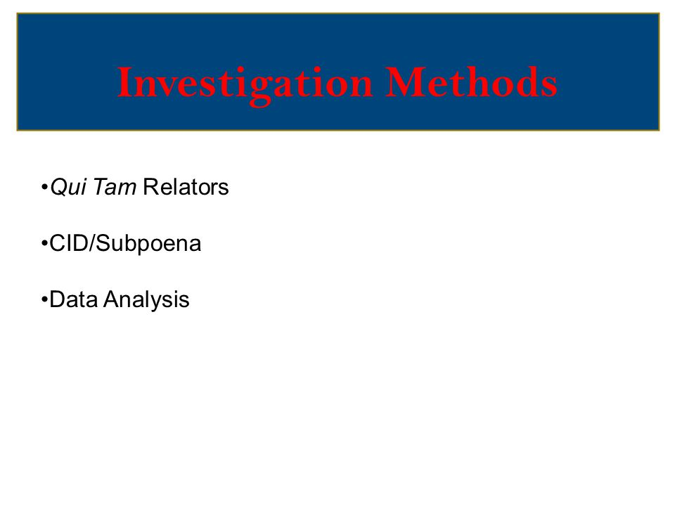 Investigation Methods