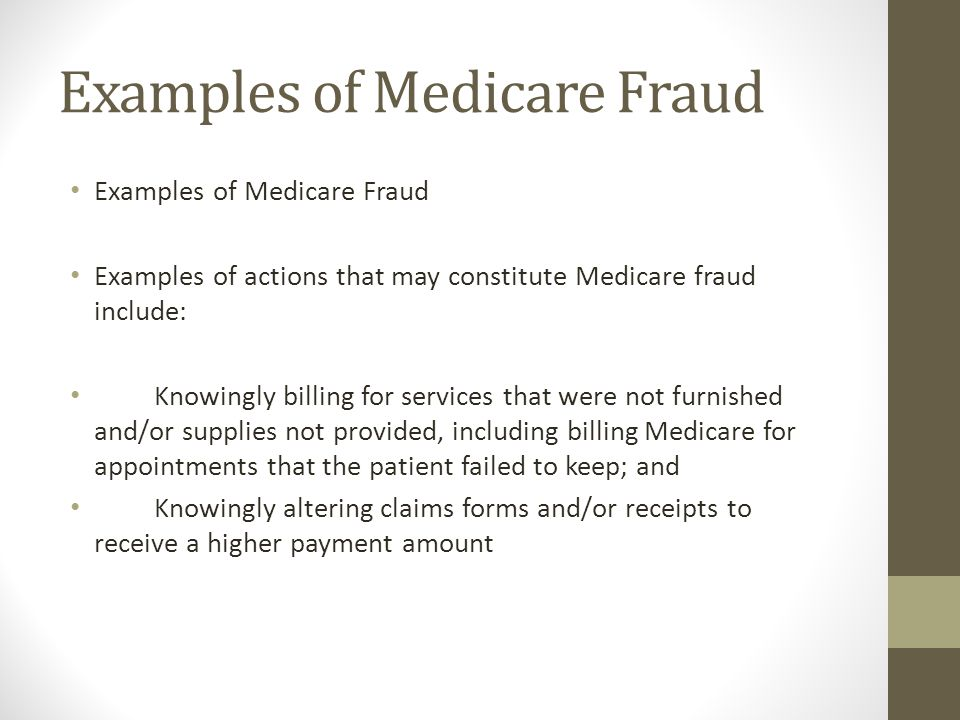 Examples of Medicare Fraud