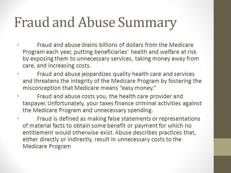 Fraud and Abuse Summary
