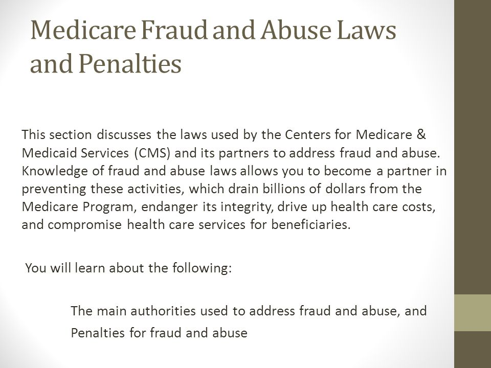 Medicare Fraud and Abuse Laws and Penalties