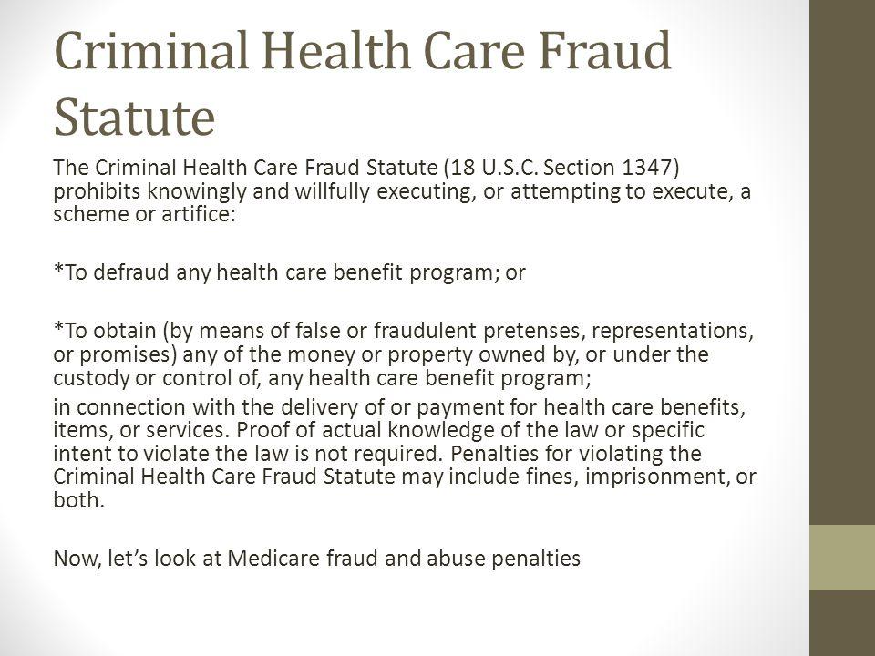 Criminal Health Care Fraud Statute