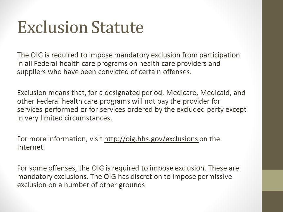 Exclusion Statute