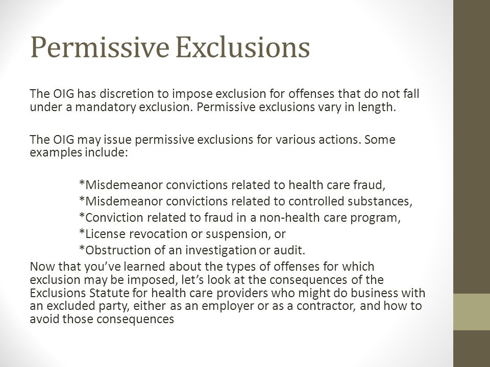 Permissive Exclusions