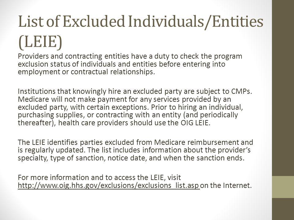 List of Excluded Individuals/Entities (LEIE)