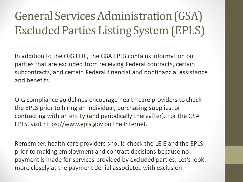 General Services Administration (GSA) Excluded Parties Listing System (EPLS)