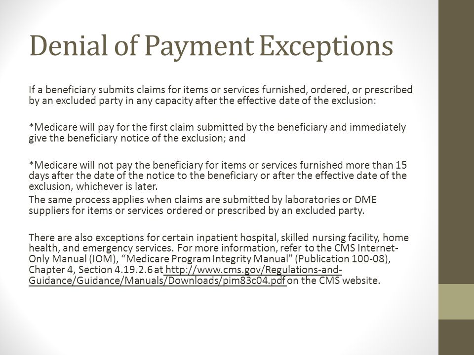 Denial of Payment Exceptions
