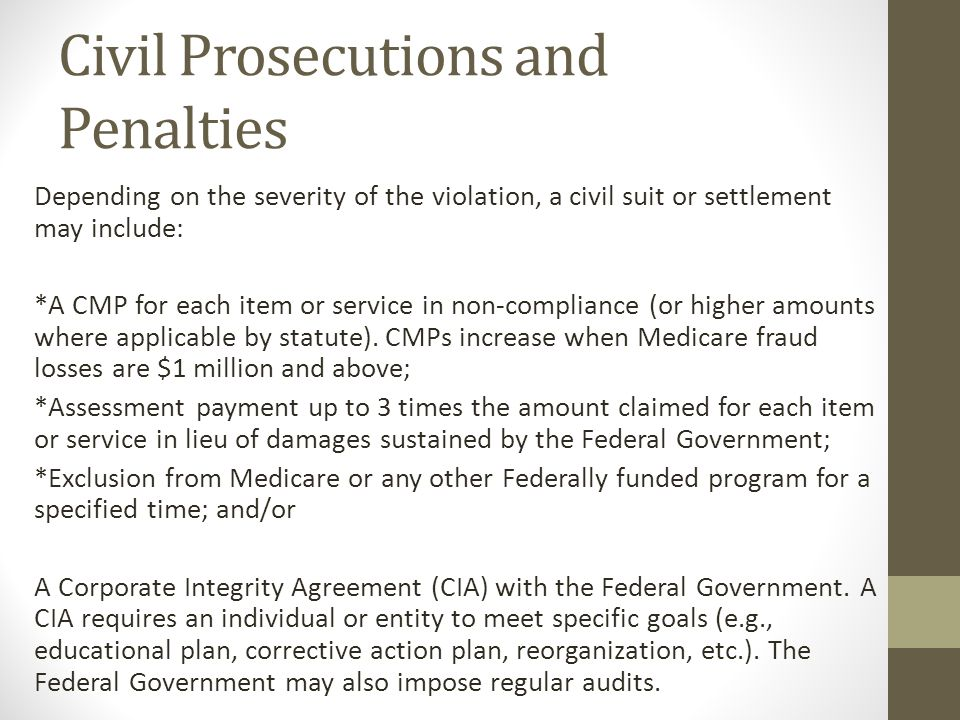 Civil Prosecutions and Penalties