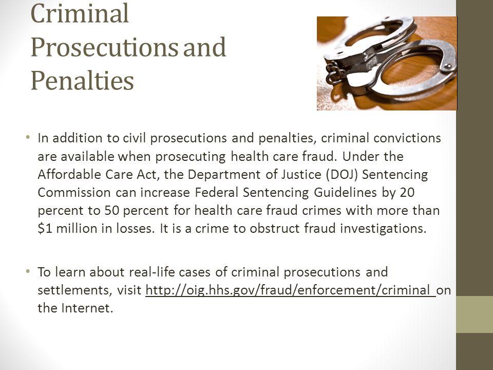 Criminal Prosecutions and Penalties