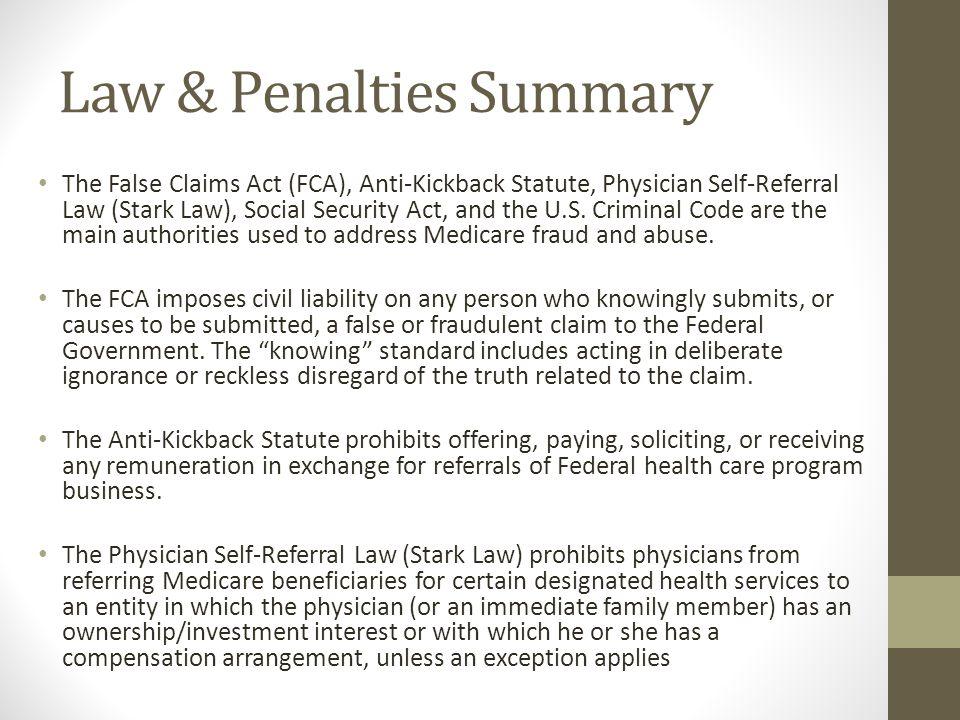 Law & Penalties Summary