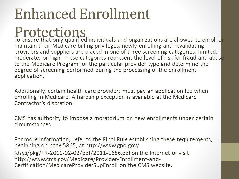 Enhanced Enrollment Protections