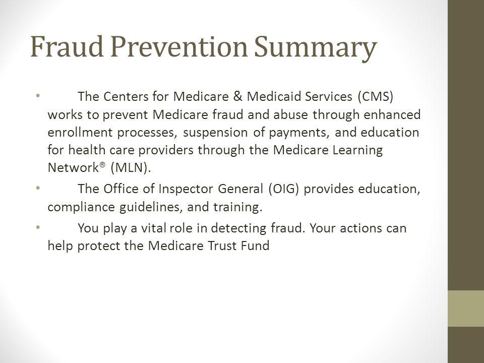 Fraud Prevention Summary