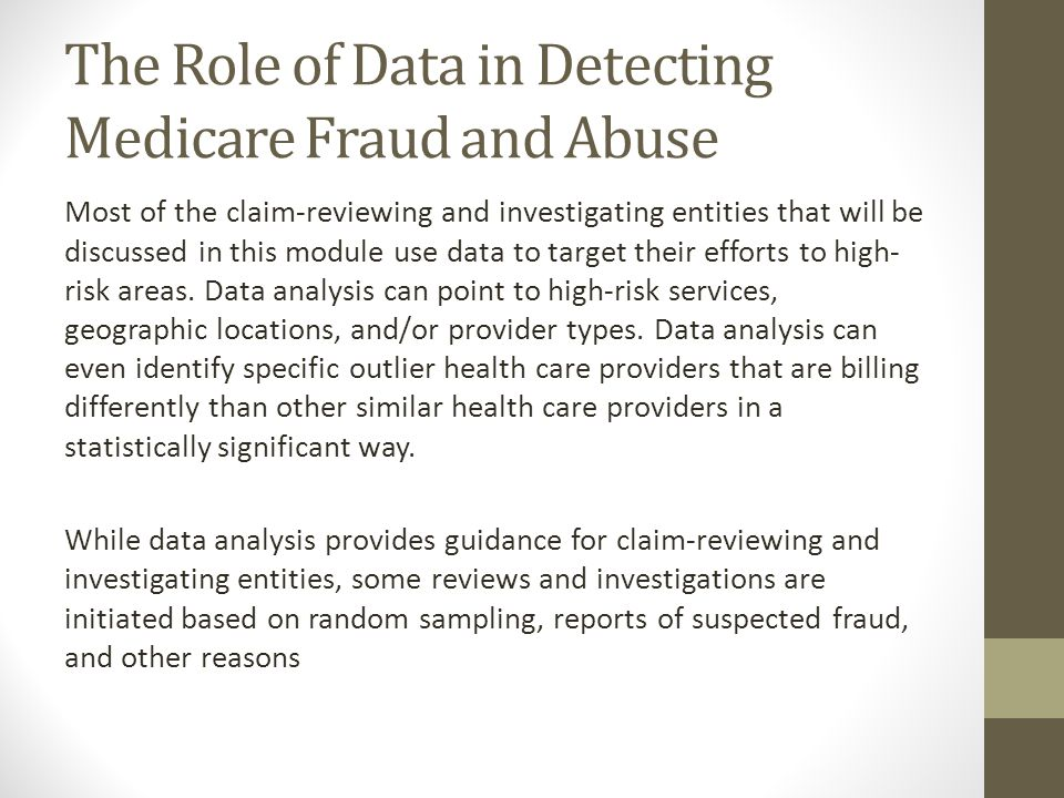 The Role of Data in Detecting Medicare Fraud and Abuse