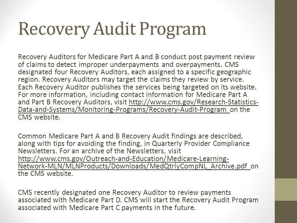 Recovery Audit Program