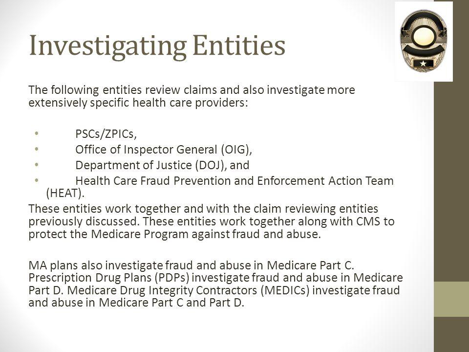 Investigating Entities