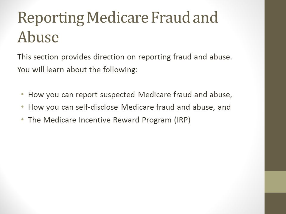 Reporting Medicare Fraud and Abuse
