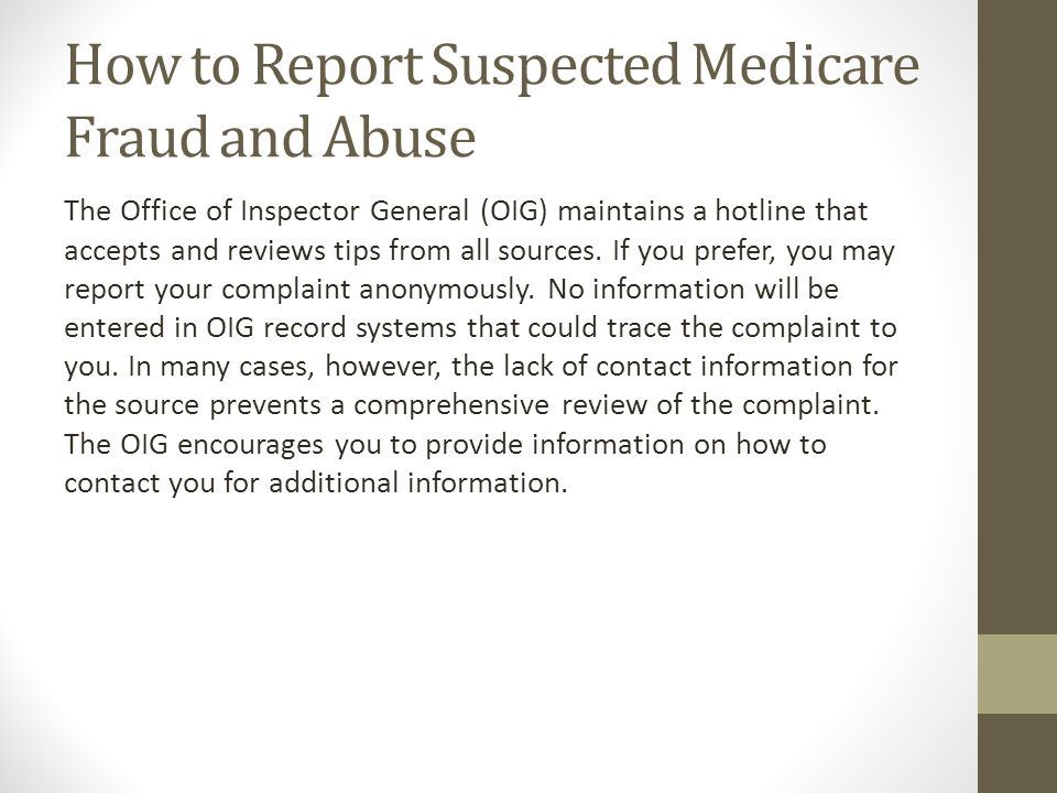 How to Report Suspected Medicare Fraud and Abuse