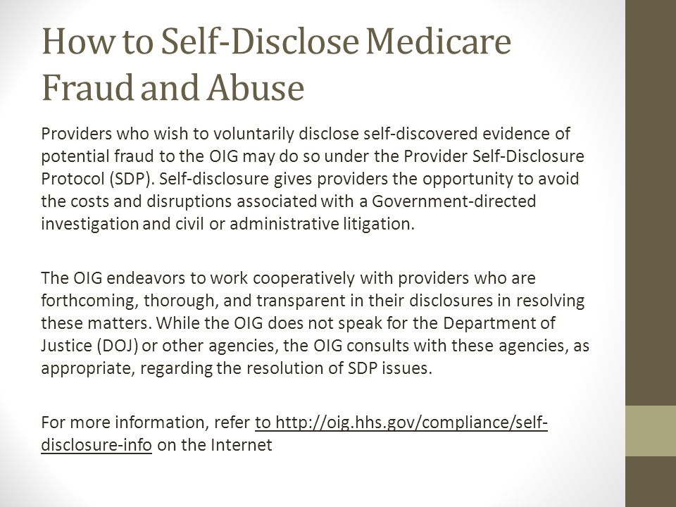 How to Self-Disclose Medicare Fraud and Abuse