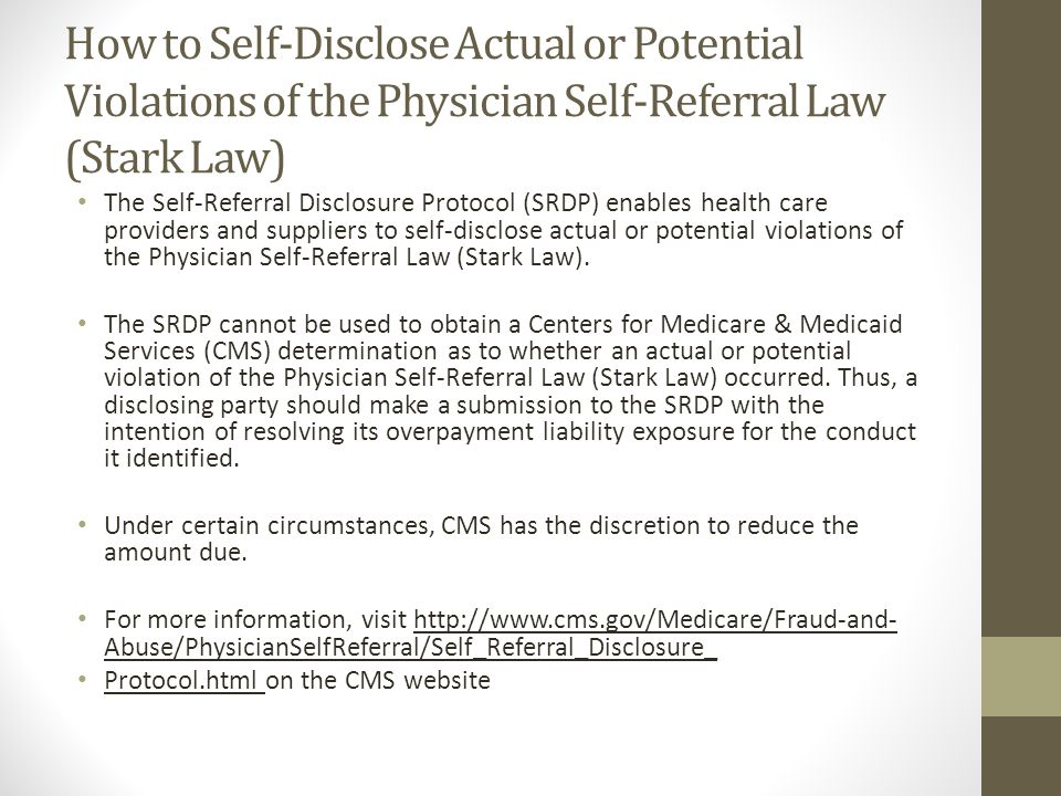 How to Self-Disclose Actual or Potential Violations of the Physician Self-Referral Law (Stark Law)
