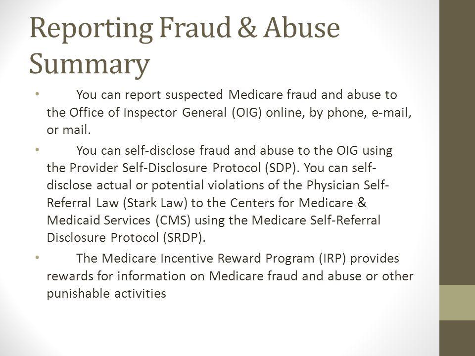 Reporting Fraud & Abuse Summary