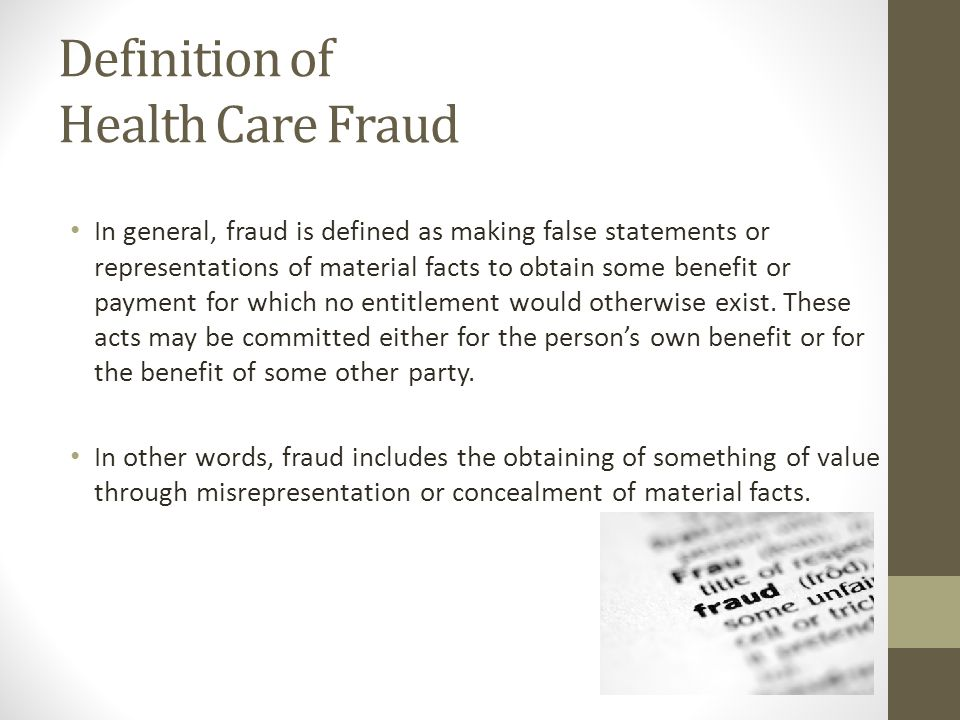 Definition of Health Care Fraud