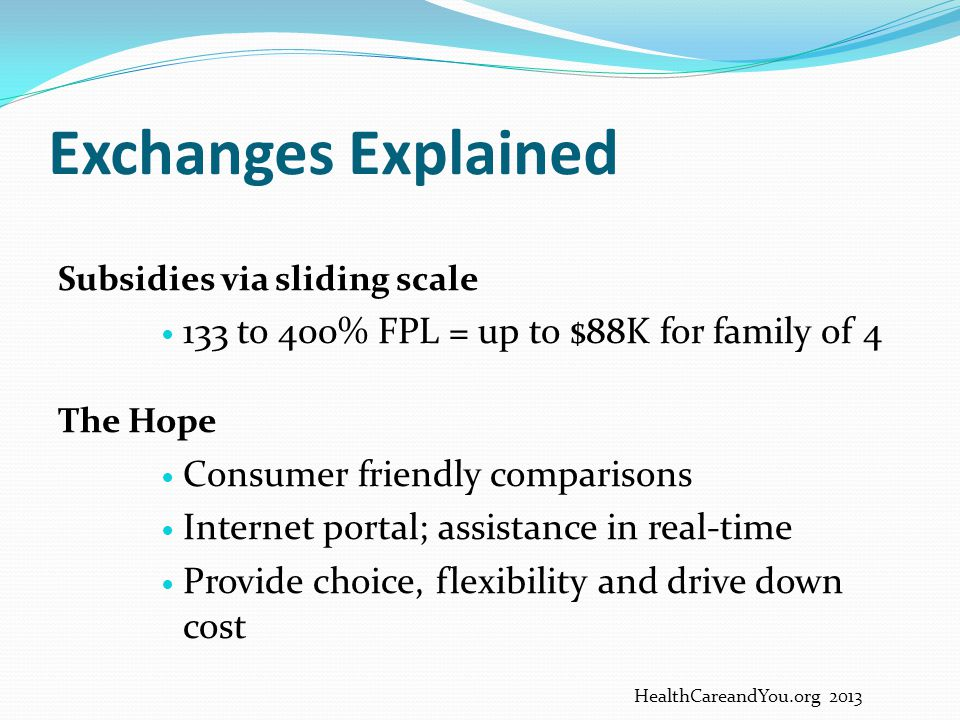 Exchanges Explained 133 to 400% FPL = up to $88K for family of 4