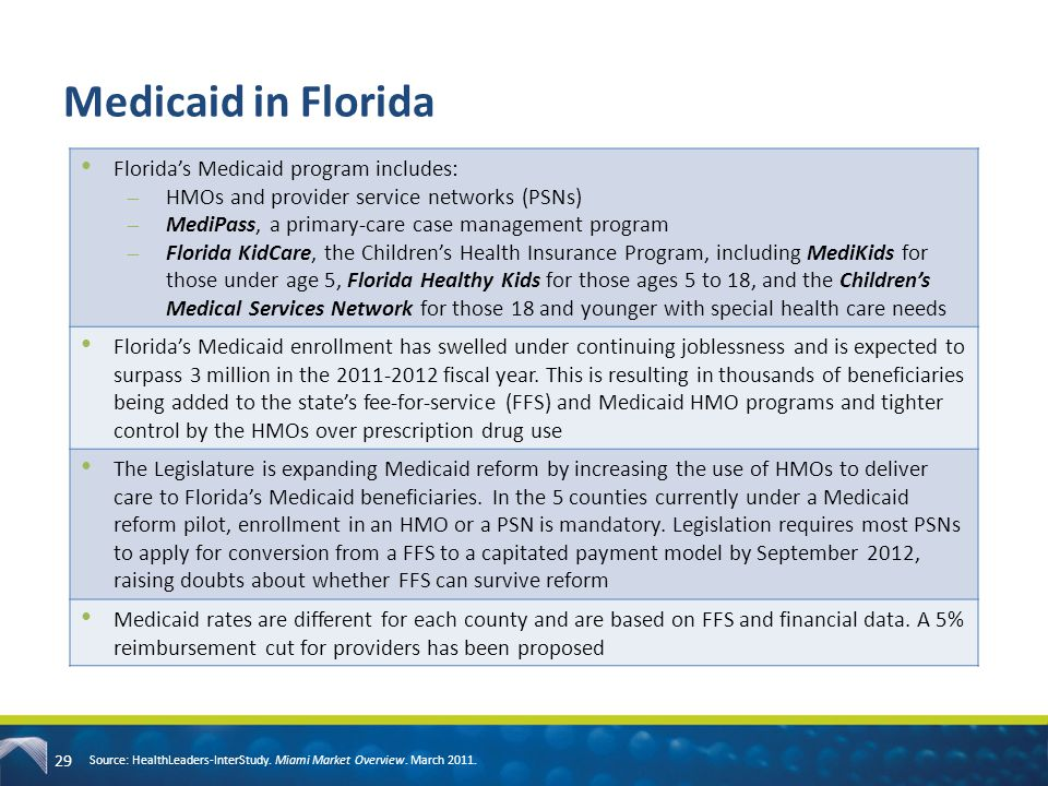 Medicaid in Florida Florida's Medicaid program includes: