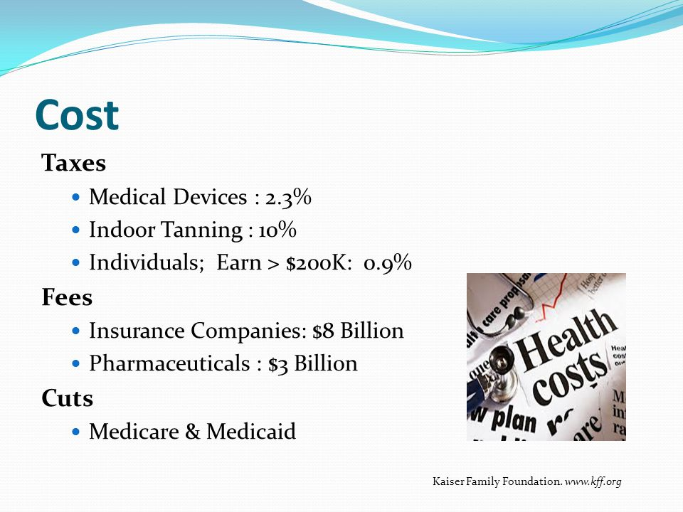 Cost Taxes Fees Cuts Medical Devices : 2.3% Indoor Tanning : 10%