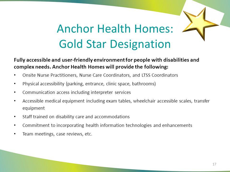 Anchor Health Homes: Gold Star Designation