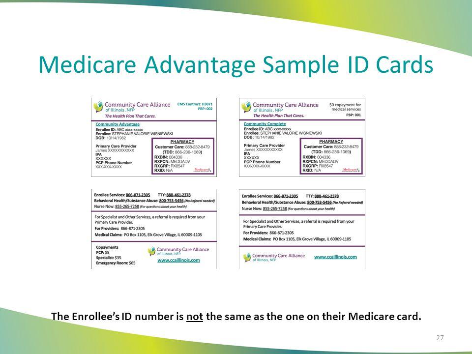 Medicare Advantage Sample ID Cards