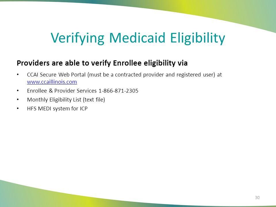 Verifying Medicaid Eligibility