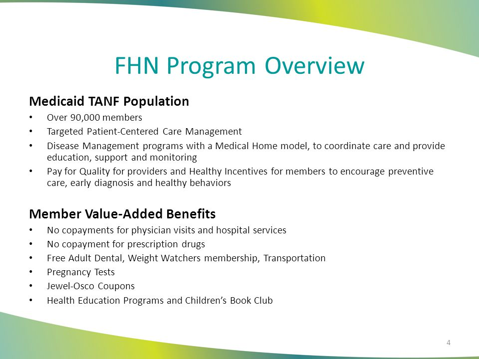 FHN Program Overview Medicaid TANF Population