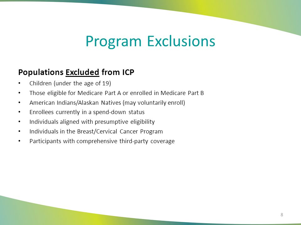 Program Exclusions Populations Excluded from ICP