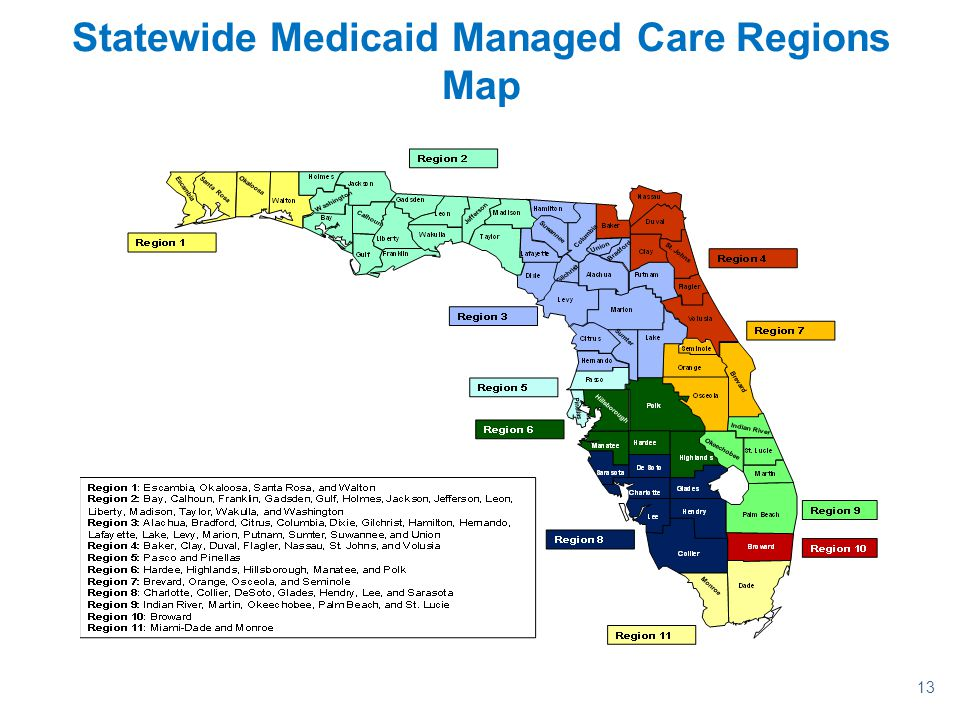 Statewide Medicaid Managed Care Regions Map