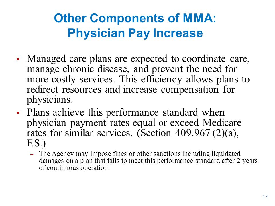 Other Components of MMA: Physician Pay Increase