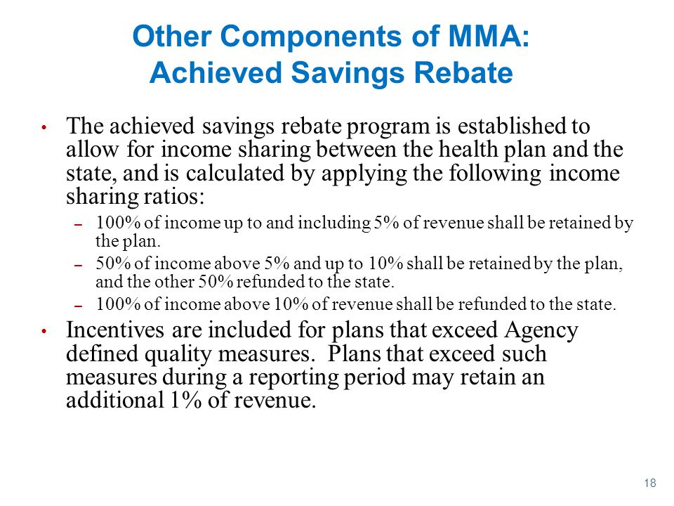 Other Components of MMA: Achieved Savings Rebate