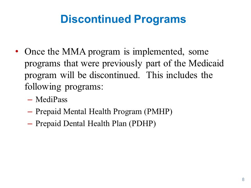 Discontinued Programs