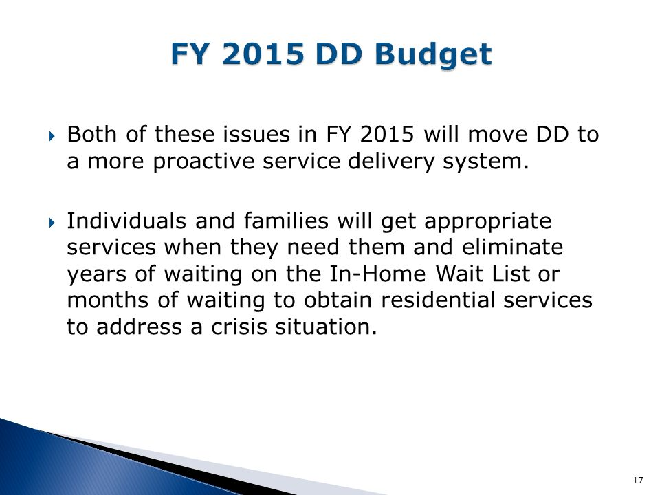 FY 2015 DD Budget Both of these issues in FY 2015 will move DD to a more proactive service delivery system.