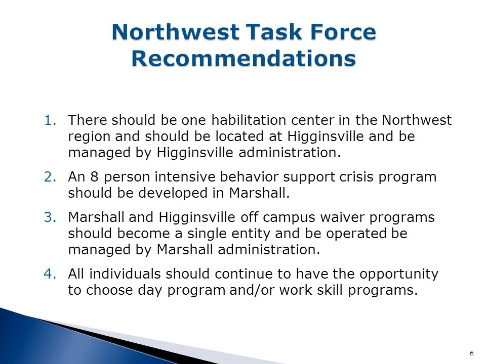 Northwest Task Force Recommendations