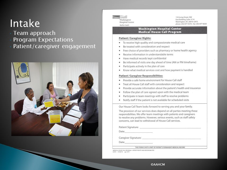 Intake Intake Team approach Program Expectations